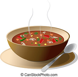 bol, soupe, légume, chaud
