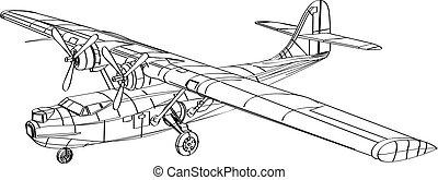 bombardier, patrouiller bateau, consolidated, pby, dessin, ligne, voler, amphibie, avion, catalina
