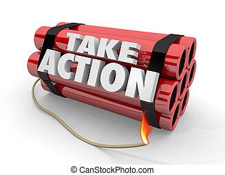bombe, illustration, rapidement, urgent, prendre, acte, action, dynamite, 3d