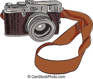 bon appareil-photo, isolé, dessin