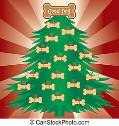 bon, arbre noël, chiens