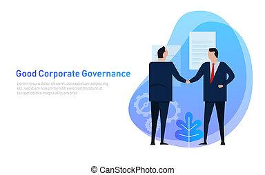 bon, business, governance., ensemble, principe, équipe, constitué, consentir, cooperation.