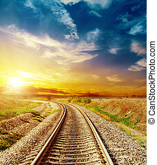 bon, coloré, sur, ciel, coucher soleil, chemin fer