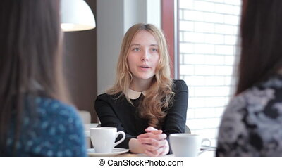 bon, conversation, séance, entrevues, jeune, métier, remplir, collège, girl