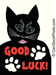 bon, matou, fâché, souhaiter, deux, chat, fond, noir, pattes blanches, luck., dessin animé