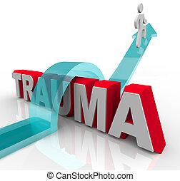 bon, mot, positif, sauts, puits, rééducation, symbolizing, personne, attitude, flèche, trauma, effets, theraphy, sur