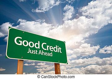 bon, nuages, signe, crédit, vert, route