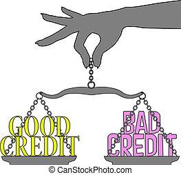 bon, personne, balances, choix, crédit, mauvais