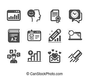 bon, tel, vecteur, icônes, ensemble, vocabulaire, education, clock., humeur