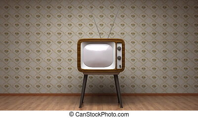 bon, vieux, salle, tv, transition, -, vert, amsk