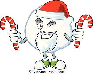 bonbon, caractère, boule de neige, dessin animé, santa