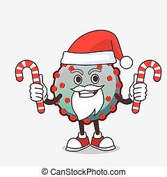 bonbon, caractère, déguisement, dessin animé, virus, mascotte, santa