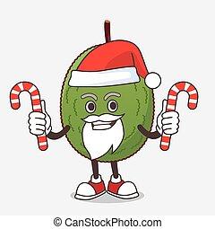 bonbon, caractère, jackfruit, dessin animé, déguisement, santa, mascotte