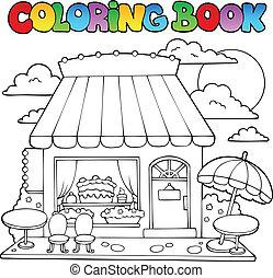 bonbon, livre coloration, magasin, dessin animé