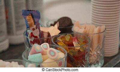 bonbons, desserts, vacances, table, indoors., jour, lunettes, doux
