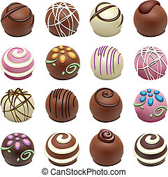 bonbons, vecteur, chocolat