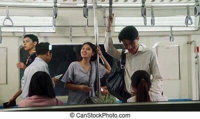 bondé, gens, voyage, foule, occupé, train, métro, public