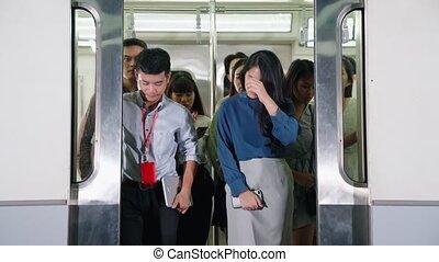 bondé, public, train, gens, foule, occupé, métro, voyage