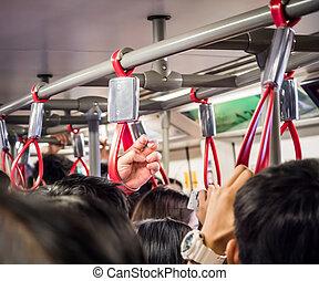 bondé, transport, public, gens