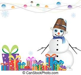bonhomme de neige, écharpe bleue, heureux