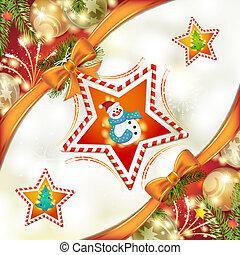 bonhomme de neige, étoile, noël