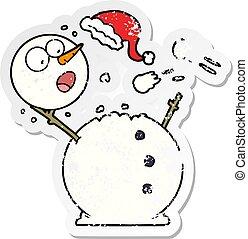 bonhomme de neige, affligé, autocollant, combat snowball