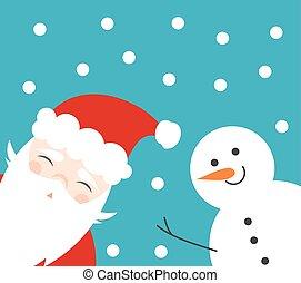 bonhomme de neige, amusement, claus, noël, santa