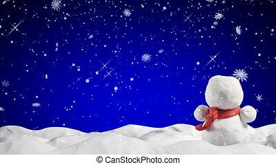 bonhomme de neige, animation, chute neige, argile