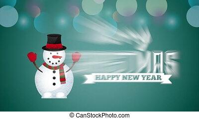 bonhomme de neige, animation, noël, joyeux