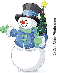 bonhomme de neige, arbre noël