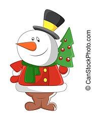 bonhomme de neige, arbre, noël, heureux