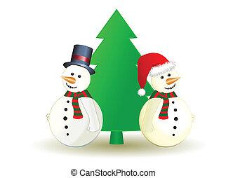 bonhomme de neige, arbre, vecteur, noël
