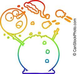 bonhomme de neige, arc-en-ciel, gradient, baston, boule de neige, dessin ligne