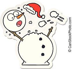 bonhomme de neige, autocollant, combat snowball