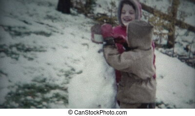 bonhomme de neige, bâtiment, (8mm, film), gosses