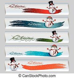 bonhomme de neige, bannière, noël, joyeux