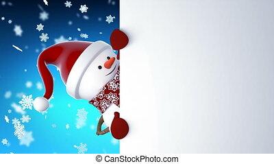 bonhomme de neige, beau, concept, santa, année, rigolote, card., sourire., animation, nouveau, noël, 1920x1080, heureux, entiers, claus, screen., joyeux, mains, dessin animé, hd, animé, casquette, salutation, vert, 3d
