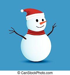 bonhomme de neige, bleu, isolé, fond