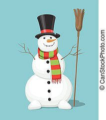 bonhomme de neige, bleu, isolé, fond, noël