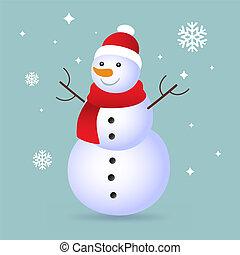 bonhomme de neige, bleu, isolé, fond, ombre, noël