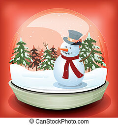 bonhomme de neige, boule de neige, hiver