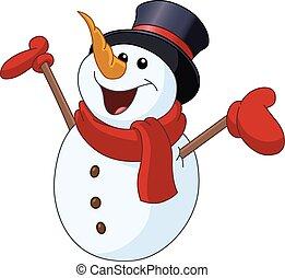 bonhomme de neige, bras, élévation