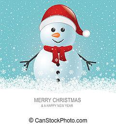 bonhomme de neige, brun, neige, fond, chapeau, écharpe