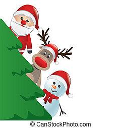 bonhomme de neige, c, renne, derrière, santa