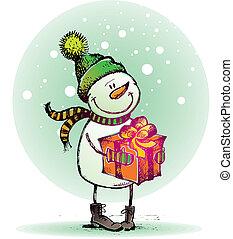 bonhomme de neige, cadeau, -, illustration, main, vecteur, dessiné, fetes