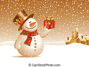 bonhomme de neige, cadeau, -, illustration, vecteur, sourire, noël, paysage