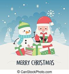 bonhomme de neige, carte, claus, noël, santa