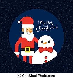 bonhomme de neige, carte, santa, joyeux noël