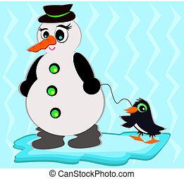 bonhomme de neige, chouchou, manchots