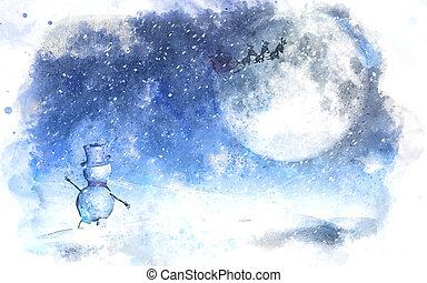 bonhomme de neige, ciel, aquarelle, onduler, santa, noël, paysage